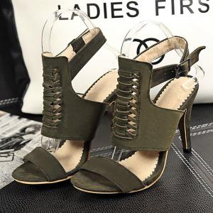 Criss Cross Buckle Straps Sandals - ARMY GREEN 39