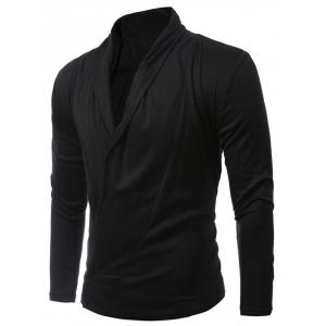 Shawl Collar Asymmetric Cardigan - Black - M