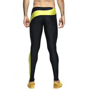 Color Splicing Skinny Elastic Waist Gym Pants - YELLOW XL