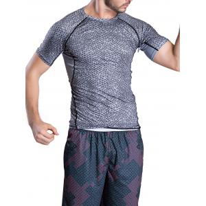 Quick-Dry Irregular Grid Pattern Round Neck Short Sleeve T-Shirt -