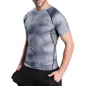 Quick-Dry Snakeskin Pattern Short Sleeve Gym T-Shirt - GRAY XL