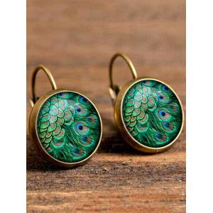 Artificial Gem Peacock Feather Drop Earrings