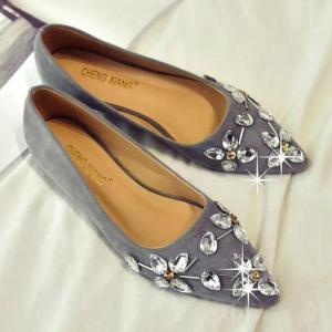 Rhinestones Suede Flat Shoes - Gray - 38