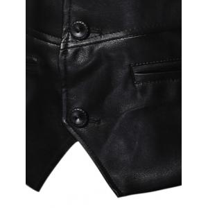 Single Breasted Faux Leather Waistcoat -