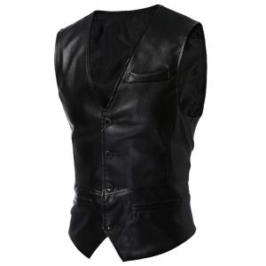 Single Breasted Faux Leather Waistcoat - Black - M