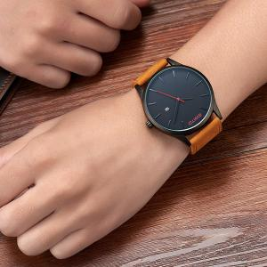 GIMTO Faux Leather Analog Date Watch - BLACK AND BROWN