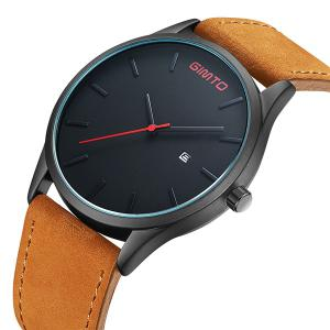 GIMTO Faux Leather Analog Date Watch - BLACK/BROWN
