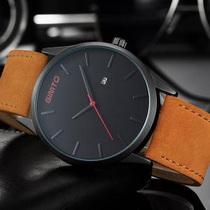 GIMTO Faux Leather Analog Date Watch -