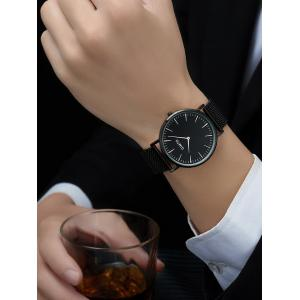 GIMTO Stainless Steel Mesh Analog Watch - BLACK