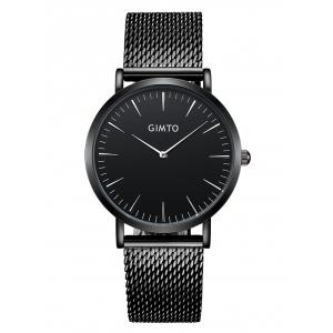 GIMTO Stainless Steel Mesh Analog Watch - White And Black