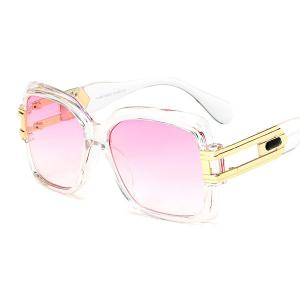 Metal Spliced Hollow Out Leg Ombre Sunglasses