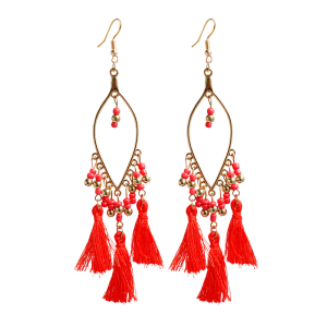 Vintage Tassel Beads Drop Earrings - Red - 2xl