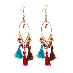 Vintage Tassel Beads Drop Earrings - Colormix
