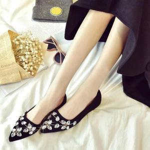Rhinestones Suede Flat Shoes -