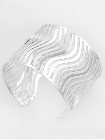 Online Wavy Hollow Out Cuff Bracelet - SILVER  Mobile