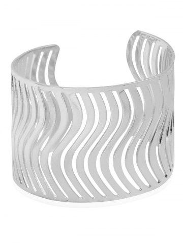 Shop Wavy Hollow Out Cuff Bracelet - SILVER  Mobile