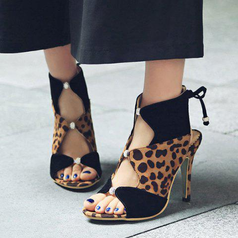 Trendy Leopard Printed Lace Up Sandals - 39 LEOPARD Mobile