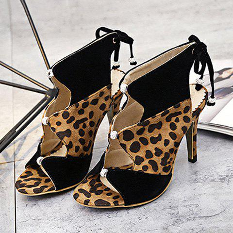 Online Leopard Printed Lace Up Sandals - 39 LEOPARD Mobile