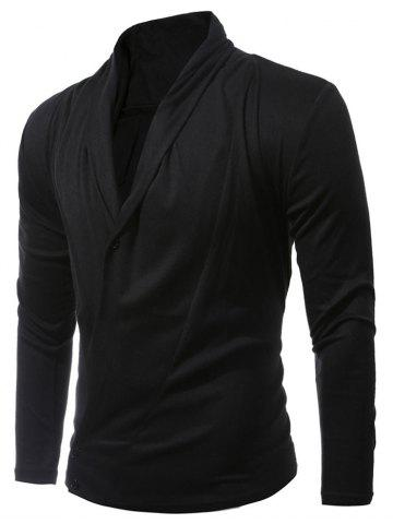 Discount Shawl Collar Asymmetric Cardigan - M BLACK Mobile