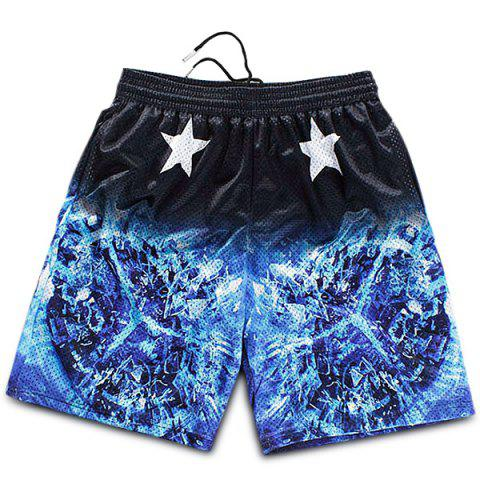 Chic Straight Leg Breathable Stars Print 3D Fire Pattern Drawstring Men's Board Shorts -   Mobile