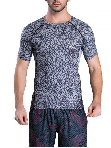 Fancy Quick-Dry Irregular Grid Pattern Round Neck Short Sleeve T-Shirt