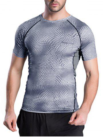 Unique Quick-Dry Snakeskin Pattern Short Sleeve Gym T-Shirt GRAY XL