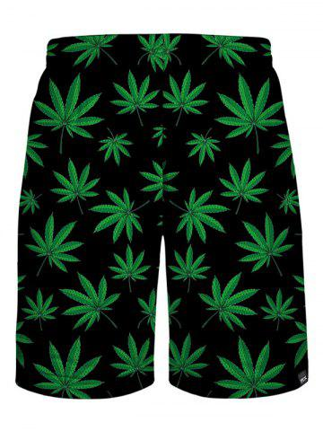 Chic Leaf Print Casual Shorts - L BLACK AND GREEN Mobile