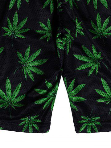 Buy Leaf Print Casual Shorts - L BLACK AND GREEN Mobile