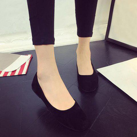 Latest Square Toe Slip On Flat Shoes - 39 BLACK Mobile