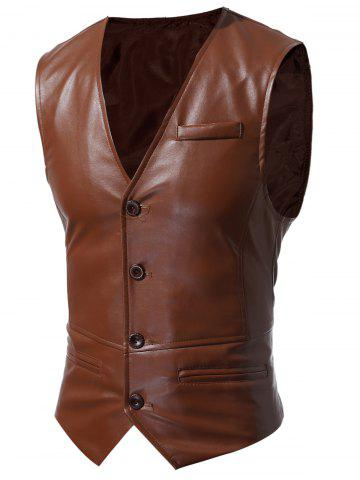 Affordable Single Breasted Faux Leather Waistcoat