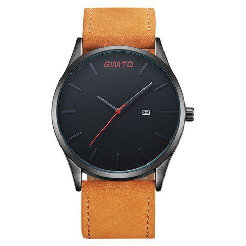 Latest GIMTO Faux Leather Analog Date Watch BLACK/BROWN