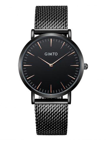 Fashion GIMTO Stainless Steel Mesh Analog Watch BLACK