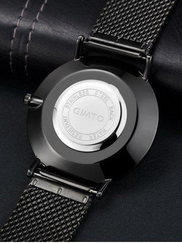 Shop GIMTO Stainless Steel Mesh Analog Watch - BLACK  Mobile