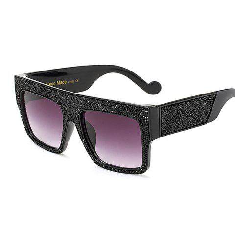 Trendy Rhinestone Wide Frame Mirrored Square Oversize Sunglasses - BLACK GREY  Mobile