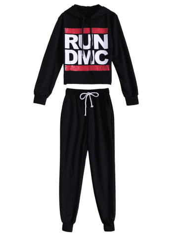 Store Casual Run Dmc Pattern Hoodie and Pants Twinset - M BLACK Mobile