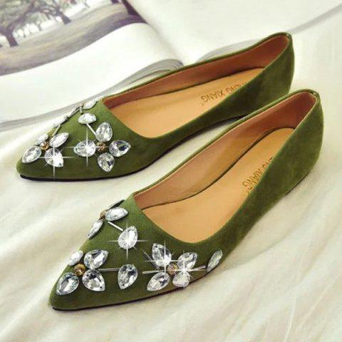 Rhinestones Suede Flat Shoes - Yellow Green - 39