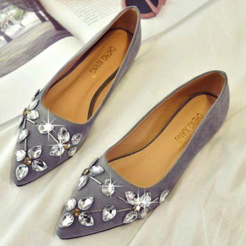 Hot Rhinestones Suede Flat Shoes - 37 GRAY Mobile