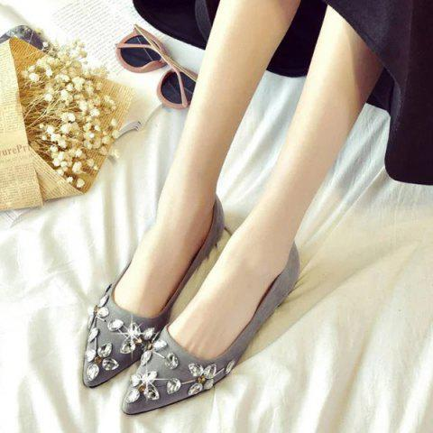 Store Rhinestones Suede Flat Shoes - 37 GRAY Mobile