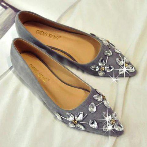 Rhinestones Suede Flat Shoes - Gray - 39