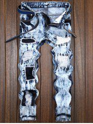 Straight Leg Destroyed Ripped Jeans - DENIM BLUE