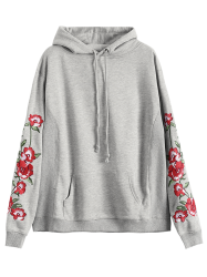 Floral Embroidered Front Pocket Hoodie -