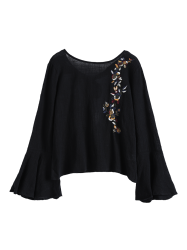 Linen Bell Sleeve Embroidered  Blouse -