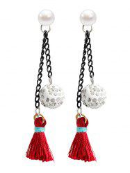 Faux Pearl Rhinestoned Ball Tassel Drop Earrings