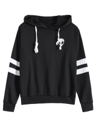 Striped Alien Embroidered Hoodie -