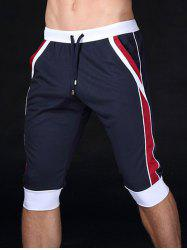 Lace-Up Color Block Splicing Design Sport Cropped Joggers