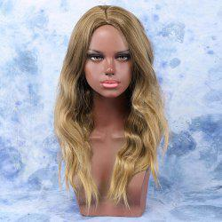 Fluffy Golden Colormix Long Middle Part Slightly Curled Synthetic Hair Wig