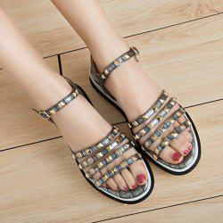 Metal Rivets Faux Leather Sandals