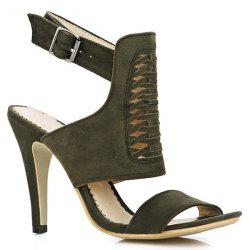 Criss Cross Buckle Straps Sandals - ARMY GREEN