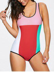 Color Block U Neck One Piece Swimwear
