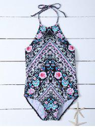 Floral Halter Backless One Piece Swimwear